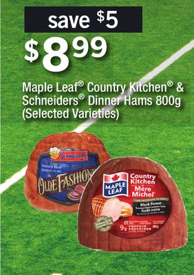 Maple Leaf Country Kitchen & Schneiders Dinner Hams - 800g