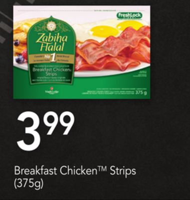Zabiha Halal Breakfast Chicken Strips - (375g)