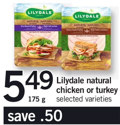 Lilydale Natural Chicken Or Turkey - 175 g