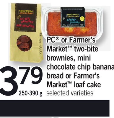 PC Or Farmer's Market Two-bite Brownies - Mini Chocolate Chip Banana Bread Or Farmer's Market Loaf Cake - 250-390 g