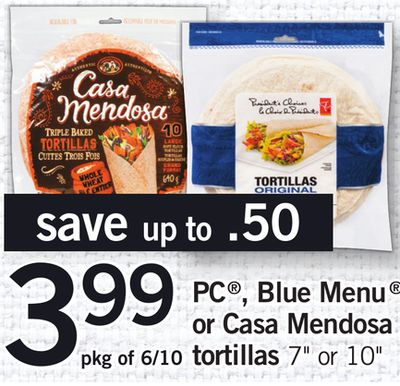 PC - Blue Menu Or Casa Mendosa Tortillas - Pkg of 6/10