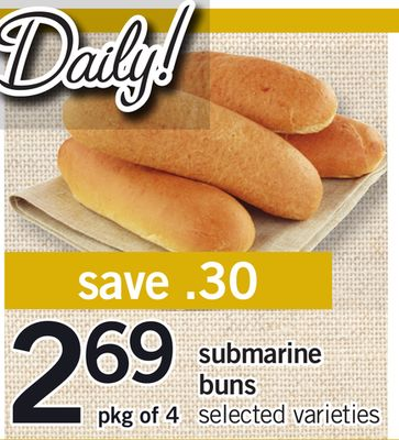Submarine Buns - Pkg of 4
