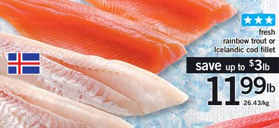Fresh Rainbow Trout Or Icelandic Cod Fillet - 26.43/kg