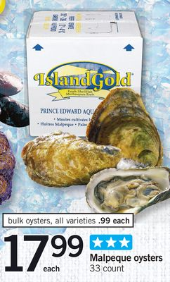 Malpeque Oysters - 33 Count