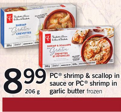 PC Shrimp & Scallop In Sauce Or PC Shrimp In Garlic Butter - 206 g