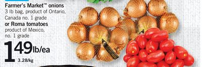 Farmer's Market Onions Or Roma Tomatoes - 3 Lb Bag