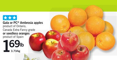 Gala Or PC Ambrosia Apples Or Seedless Oranges