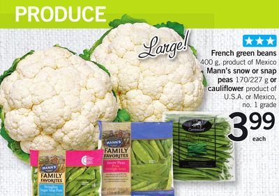 French Green Beans Mann's Snow Or Snap Peas Or Cauliflower 400 g