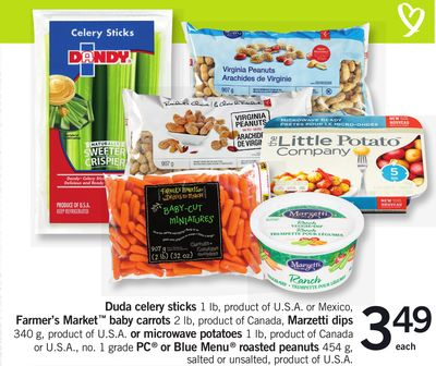 Duda Celery Sticks 1 Lb - Farmer's Market Baby Carrots 2 Lb - Marzetti Dips 340 G Or Microwave Potatoes 1 Lb - PC Or Blue Menu Roasted Peanuts 454 G