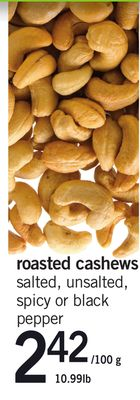 Roasted Cashews - 10.99lb
