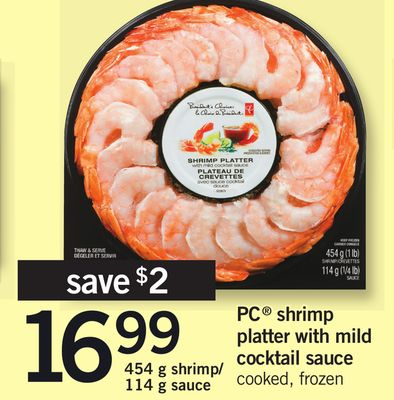 PC Shrimp Platter With Mild Cocktail Sauce - 454 g Shrimp/ 114 g Sauce