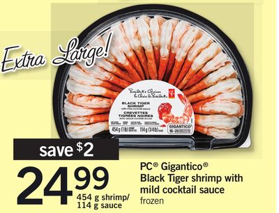 PC Gigantico Black Tiger Shrimp With Mild Cocktail Sauce - 454 g Shrimp/ 114 g Sauce