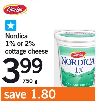 Nordica 1% Or 2% Cottage Cheese - 750 g