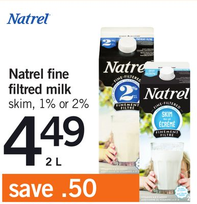Natrel Fine Filtered Milk - 2 L
