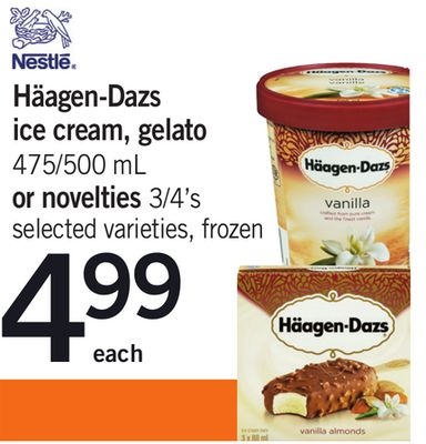 Häagen-dazs Ice Cream - Gelato 475/500 mL Or Novelties 3/4's