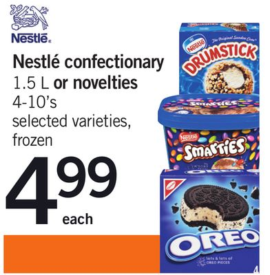Nestlé Confectionary 1.5 L or Novelties 4-10's