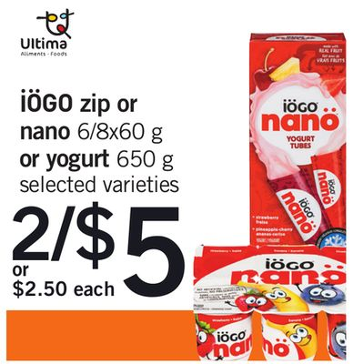 Iögo Zip Or Nano 6/8x60 g Or Yogurt 650 g