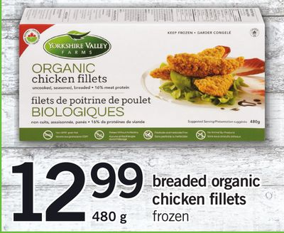 Breaded Organic Chicken Fillets.480 g