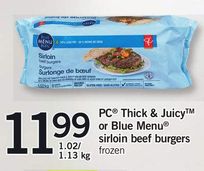 PC Thick & Juicy Or Blue Menu Sirloin Beef Burgers - 1.02/ 1.13 Kg
