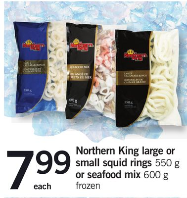 Northern King Large Or Small Squid Rings - 550 g Or Seafood Mix - 600 g