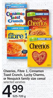 Cheerios - Fibre 1 - Cinnamon Toast Crunch - Lucky Charms - Or Nesquick Family Size Cereal - 525-720 g