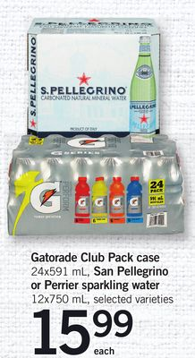 Gatorade Club Pack Case - 24x591 mL - San Pellegrino Or Perrier Sparkling Water - 12x750 mL