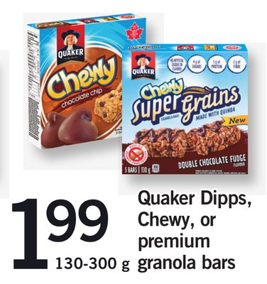 Quaker Dipps - Chewy - Or Premium Granola Bars - 130-300 g