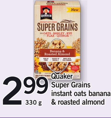 Quaker Super Grains Instant Oats Banana & Roasted Almond - 330g