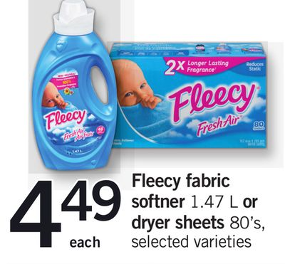 Fleecy Fabric Softner 1.47 L Or Dryer Sheets 80's