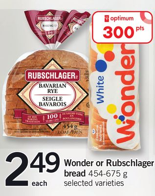 Wonder Or Rubschlager Bread 454-675 G