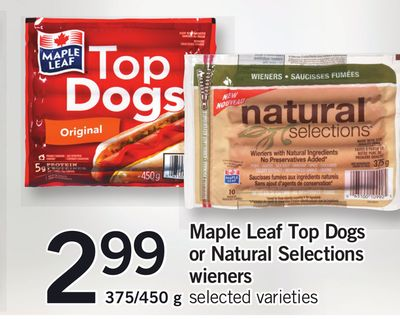 Maple Leaf Top Dogs Or Natural Selections Wieners 375/450 g