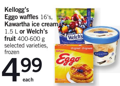 Kellogg's Eggo Waffles 16's - Kawartha Ice Cream 1.5 L Or Welch's Fruit 400-600 G