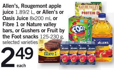 Allen's - Rougemont Apple Juice 1.89/2 L - Or Allen's Or Oasis Juice 8x200 Ml Or Fibre 1 Or Nature Valley Bars - Or Gushers Or Fruit By The Foot Snacks 125-230 g