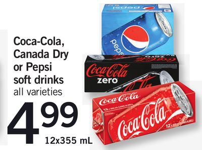 Coca-cola - Canada Dry Or Pepsi Soft Drinks 12x355 mL
