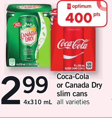 Coca-cola Or Canada Dry Slim Cans - 4x310 mL