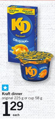 Kraft Dinner Original - 225 g Or Cup - 58 g