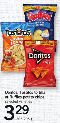 Doritos - Tostitos Tortilla - Or Ruffles Potato Chips 205-295 g