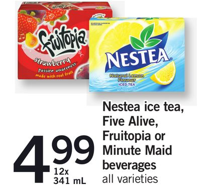 Nestea Ice Tea - Five Alive - Fruitopia Or Minute Maid Beverages - 12x 341 mL