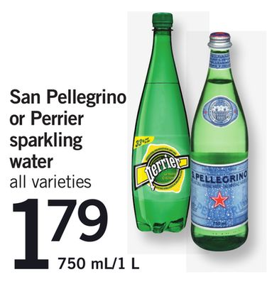 San Pellegrino Or Perrier Sparkling Water - 750 Ml/1 L