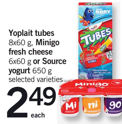 Yoplait Tubes - 8x60 g - Minigo Fresh Cheese - 6x60 g Or Source Yogurt - 650 g