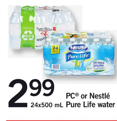 PC Or Nestlé Pure Life Water - 24x500 mL