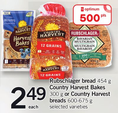 Rubschlager Bread - 454 g Country Harvest Bakes - 300 g or Country Harvest Breads - 600-675 g