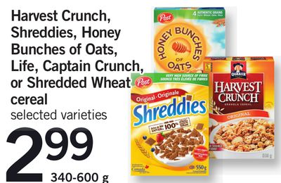 Harvest Crunch - Shreddies - Honey Bunches Of Oats - Life - Captain Crunch - Or Shredded Wheat Cereal - 340-600 g