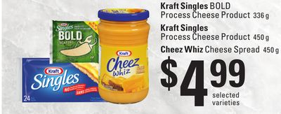 Kraft Singles Bold Process Cheese Product - 336 g - Kraft Singles Process Cheese Product - 450 g - Cheez Whiz Cheese Spread - 450 g