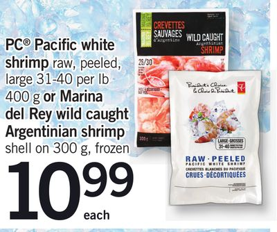 PC Pacific White Shrimp Raw - Peeled - Large 31-40 Per Lb 400 G Or Marina Del Rey Wild Caught Argentinian Shrimp Shell On 300 G - Frozen