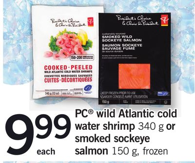 PC Wild Atlantic Cold Water Shrimp - 340 g Or Smoked Sockeye Salmon - 150 g