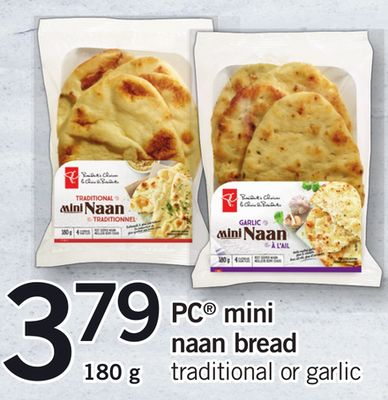 PC Mini Naan Bread Traditional Or Garlic - 180 g