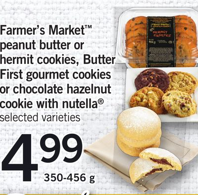 Farmer's Market Peanut Butter Or Hermit Cookies - Butter First Gourmet Cookies Or Chocolate Hazelnut Cookie With Nutella - 350-456 g