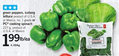 Green Peppers - Iceberg Lettuce Or PC Cooking Spinach - 227 g