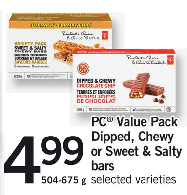 PC Value Pack Dipped - Chewy Or Sweet & Salty Bars - 504-675 g